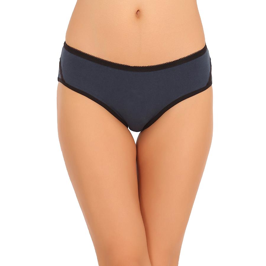 Cotton Mid Waist Bikini - Blue