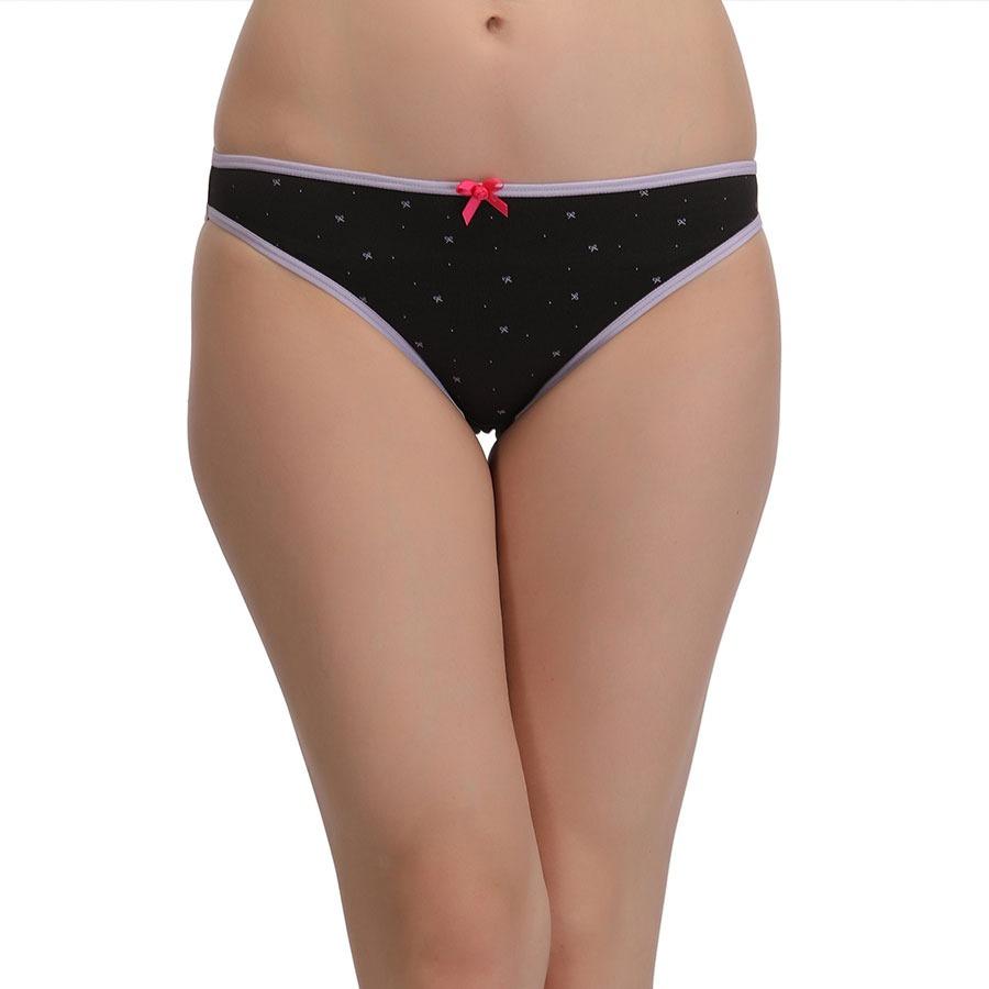 Cotton Mid Waist Bikini With Contrast Bow - Black