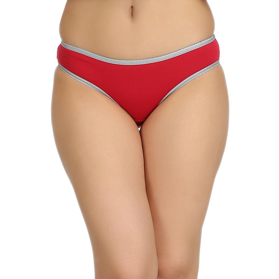 Cotton Mid Waist Bikini With Contrast Elastic - Maroon