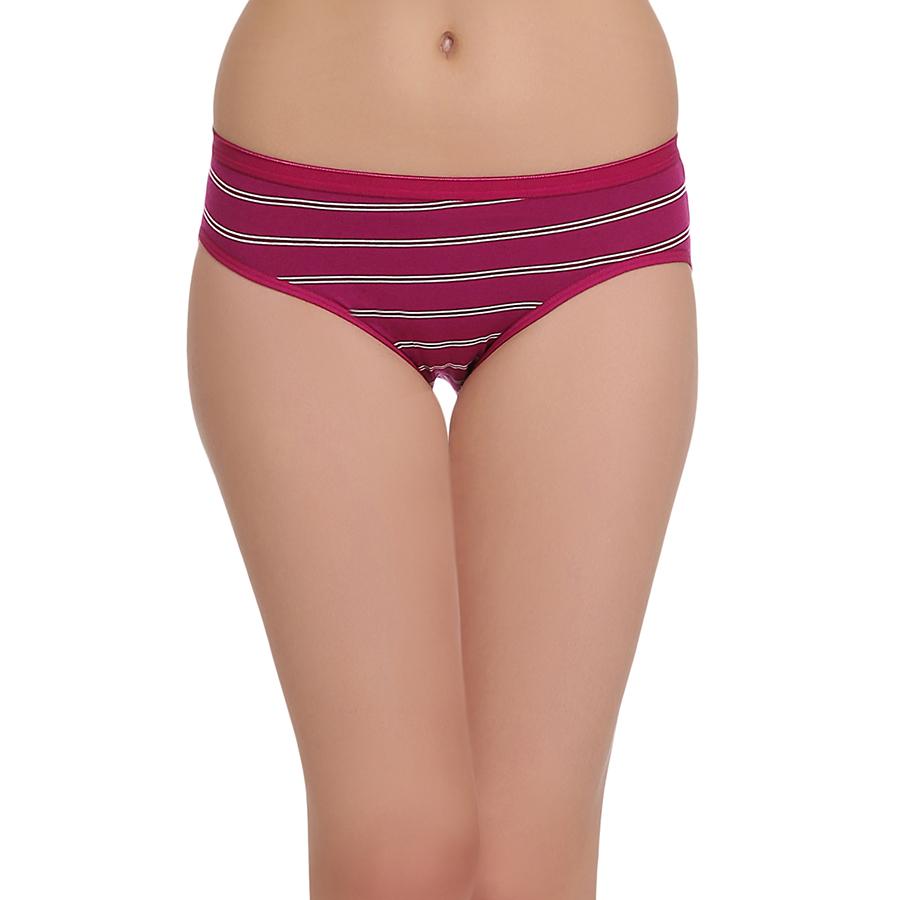 Cotton Mid Waist Bikini With Contrast Waistband - Purple