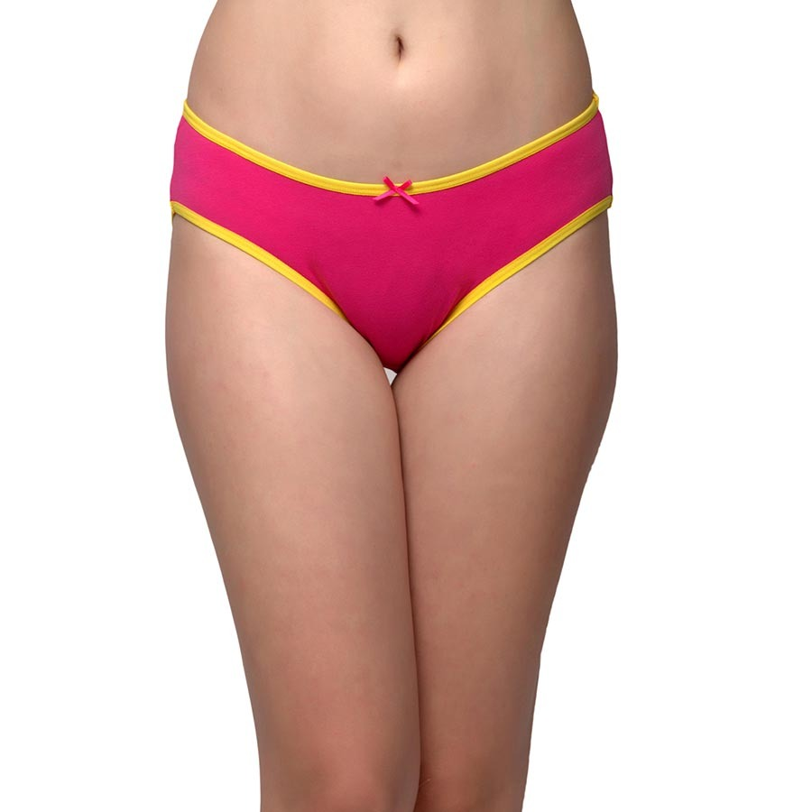 Cotton Mid Waist Bikini With Elastic Bands - Pink
