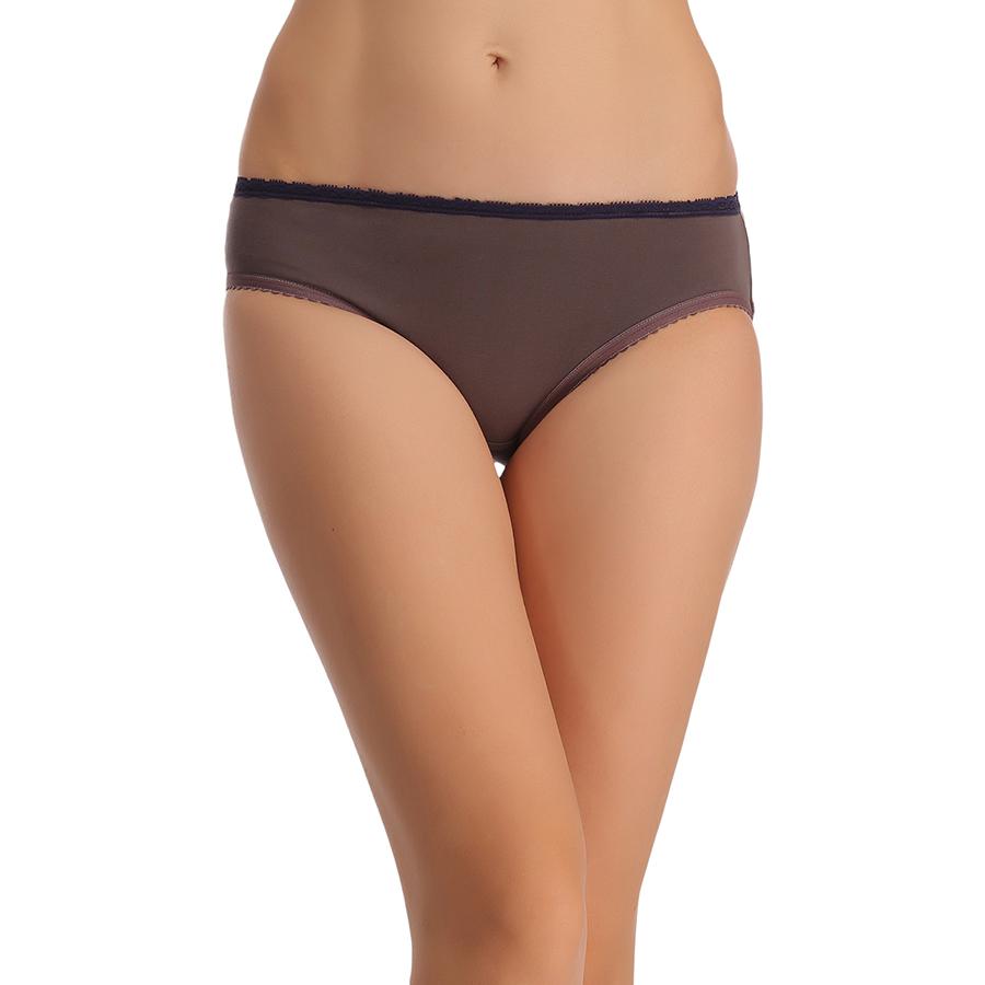 Cotton Mid Waist Bikini With Lace Trims - Grey