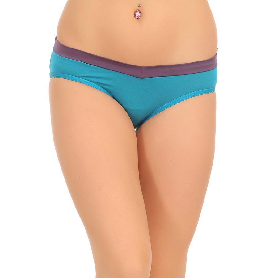 Cotton Mid Waist Colour Block Bikini - Blue