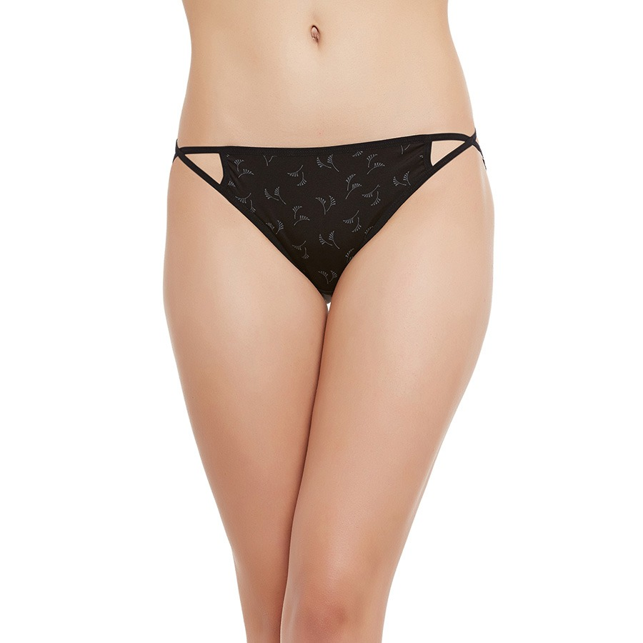 Cotton Mid Waisted Bikini With 2 Cross String - Black