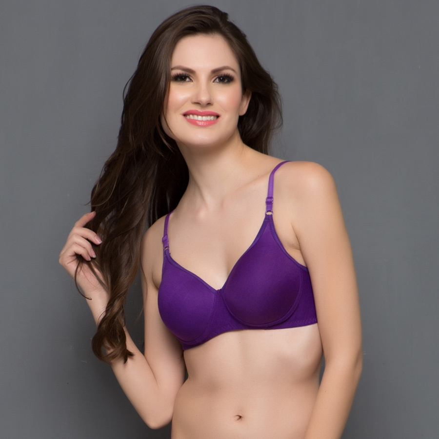 Cotton Padded Non-Wired T-Shirt Bra In Purple