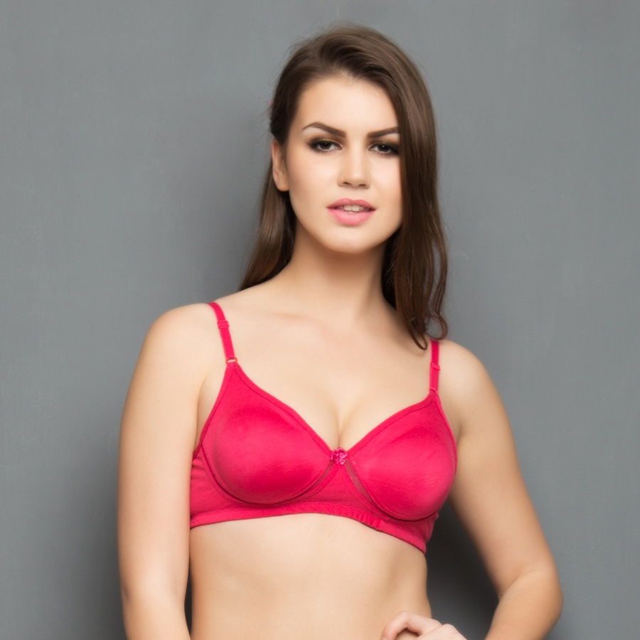 Cotton Rich Non Padded Wirefree T-shirt Bra In Hot Pink