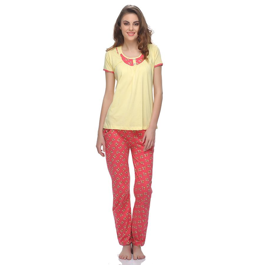 Cotton T-Shirt And Pyjama Set In Yellow