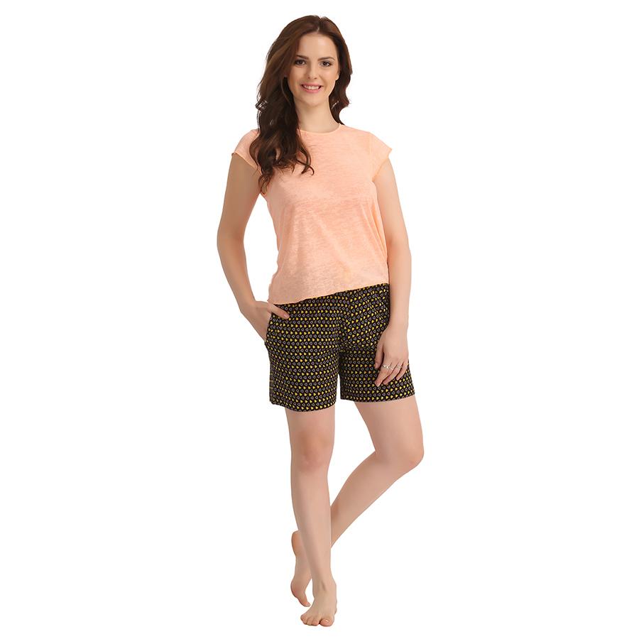 Cotton Top & Printed Shorts - Black