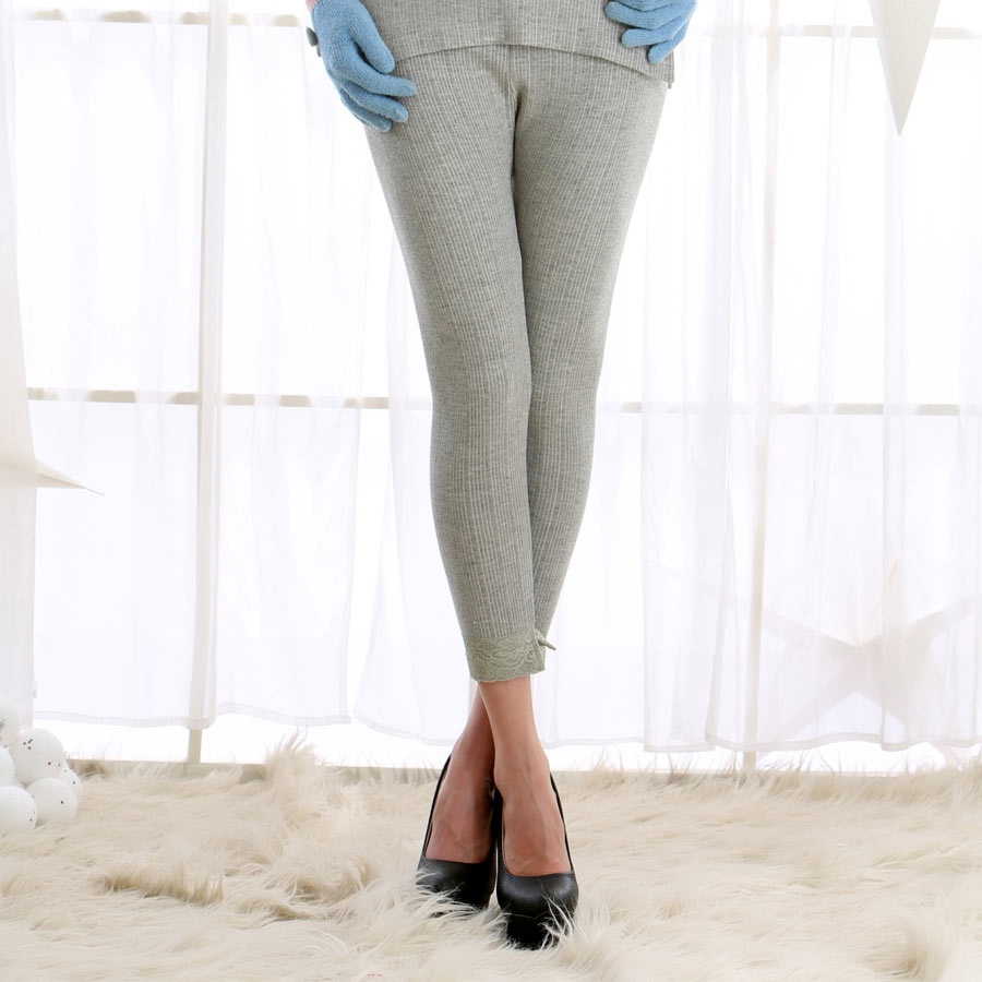 Cozy Fitted Thermal Bottom In Grey