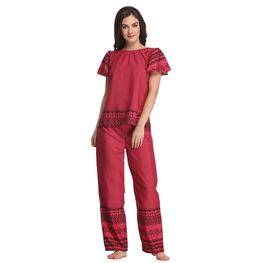 Crepe Nightwear Set In Pink