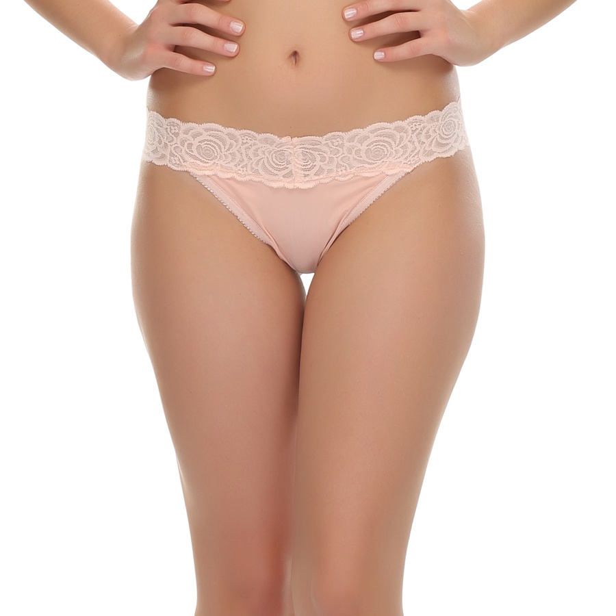 Floral Lace Thong In Peach