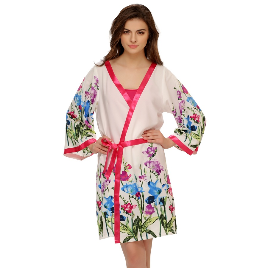 Floral Printed Robe In White