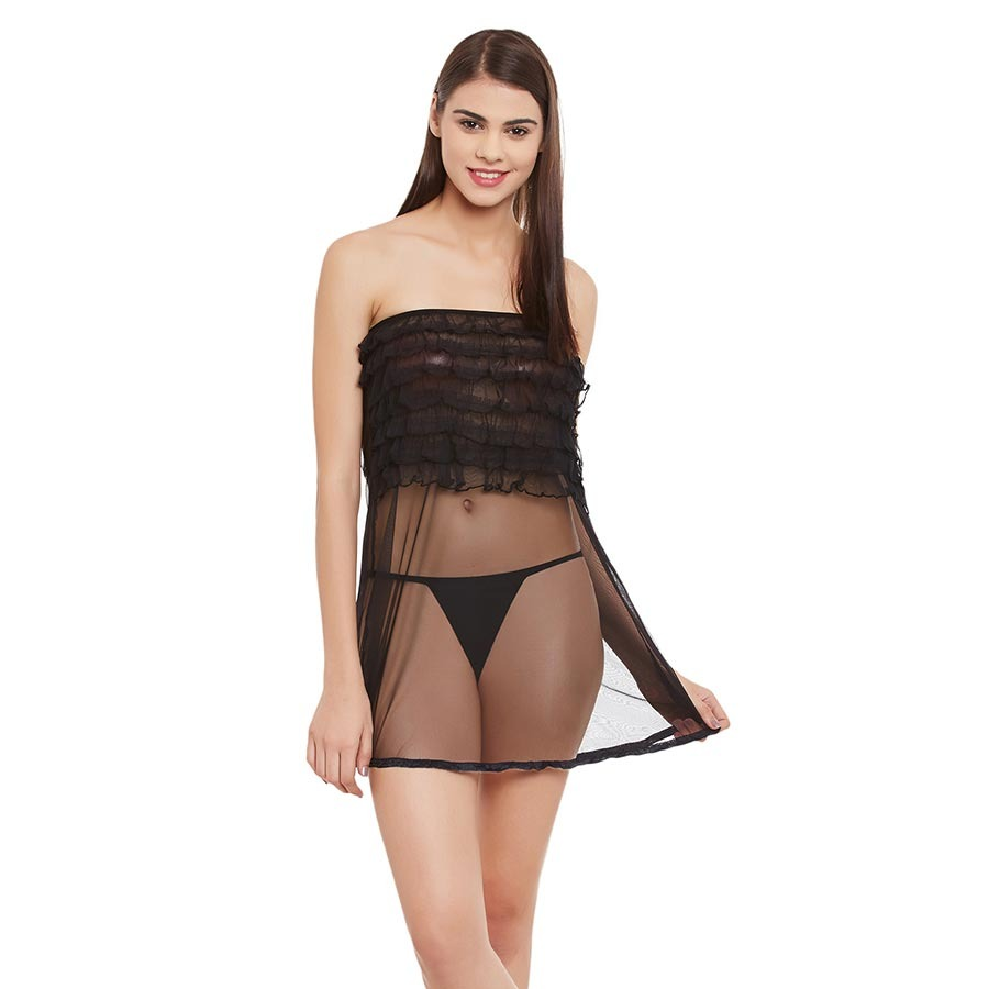 Frilled Mesh Babydoll With Thong - Black
