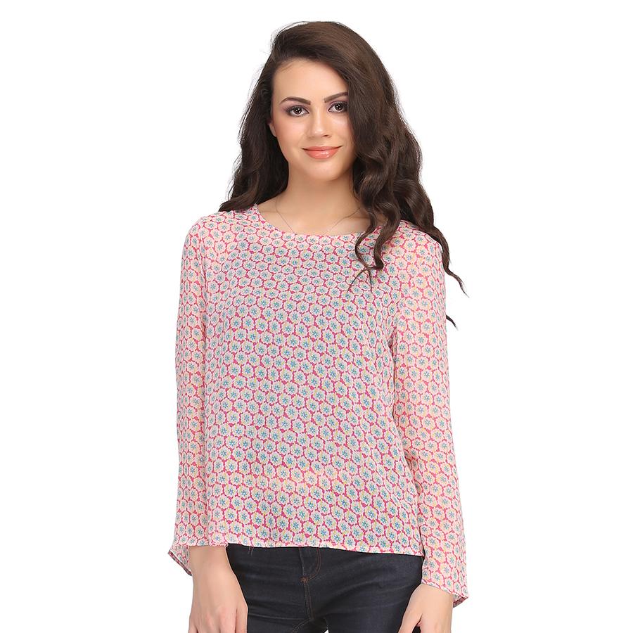 Full Sleeve Georgette Western Wear In Pink