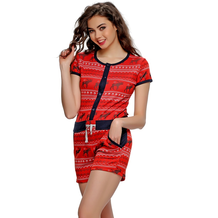 Funky Printed Jumpsuit In Red