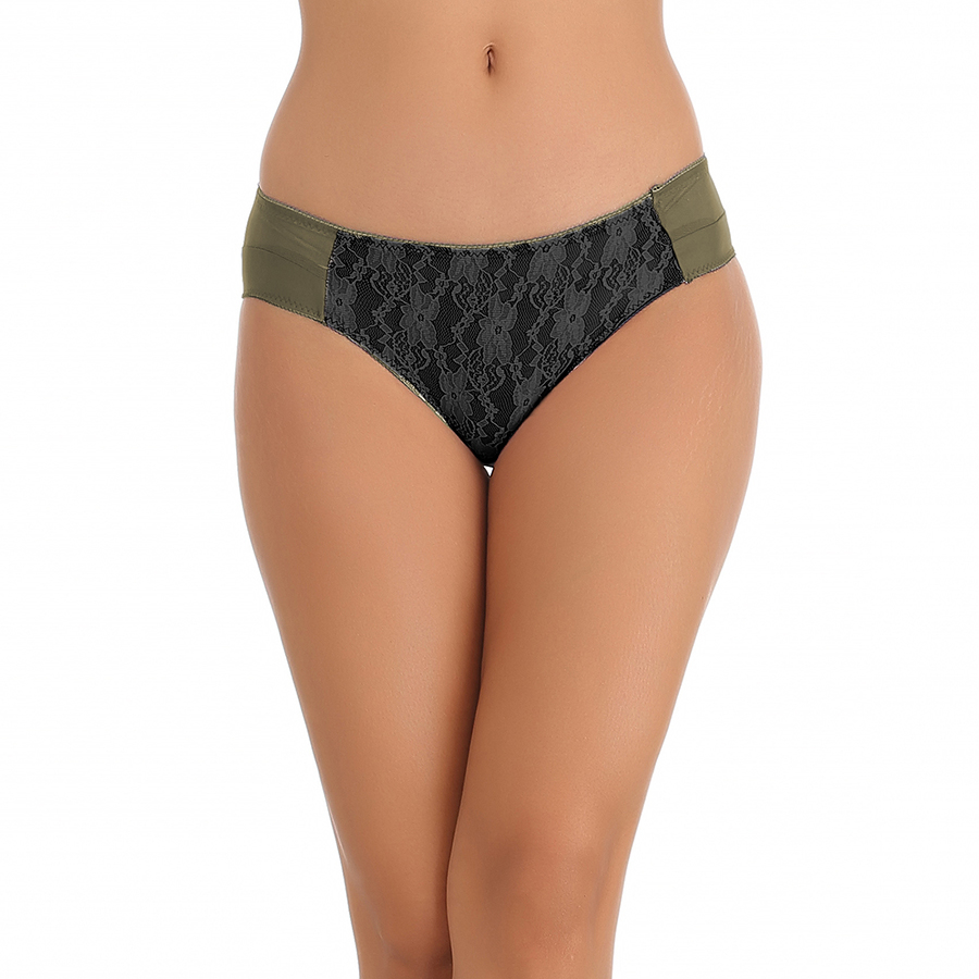 Green Bikini With Contrast All Over Front Lace