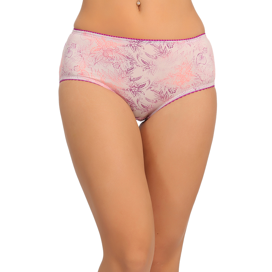 High Waist Hipster With Printed Front & Solid Back - Pink