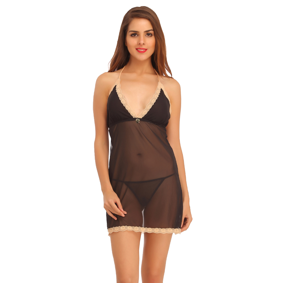 Lace & Powernet Babydoll With Matching Thong - Black