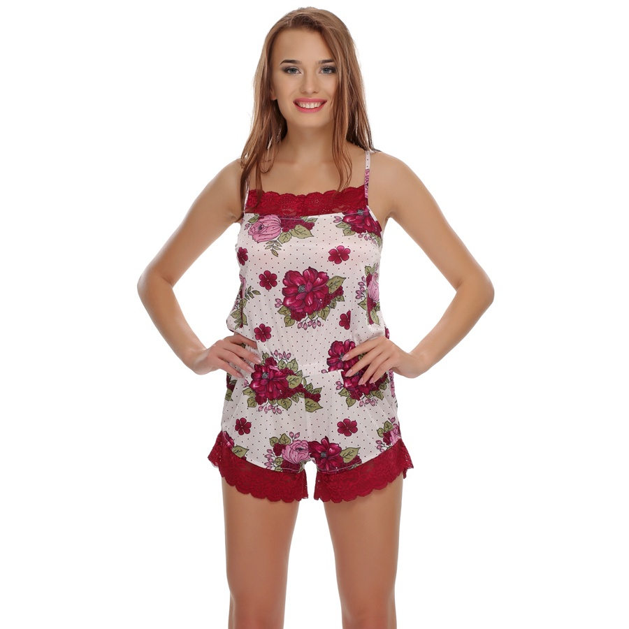 Lacy Floral Jumpsuit In Maroon