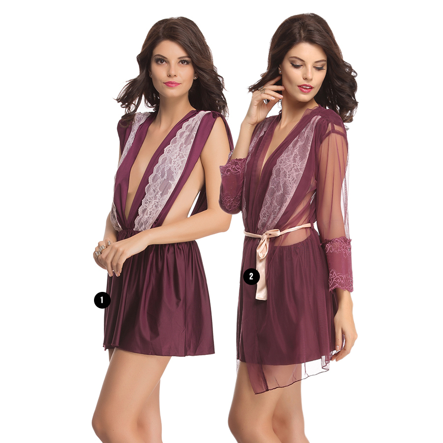 Lacy Polyamide Nightdress With Mesh Robe