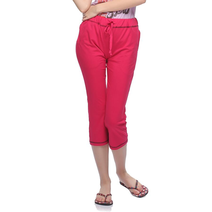 Soft Cotton Comfy Capri In Hot Pink