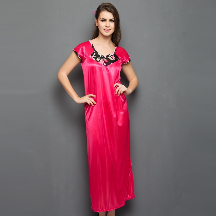 Long Nighty With Floral Neckline