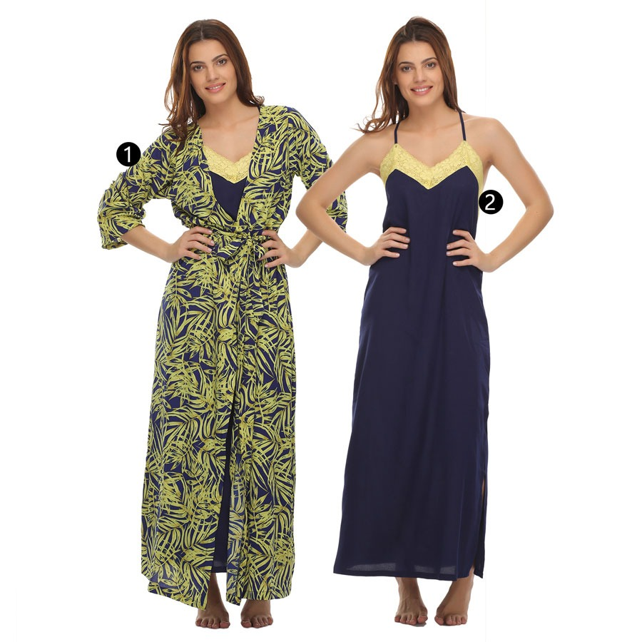 Long Nighty With Printed Robe - Yellow