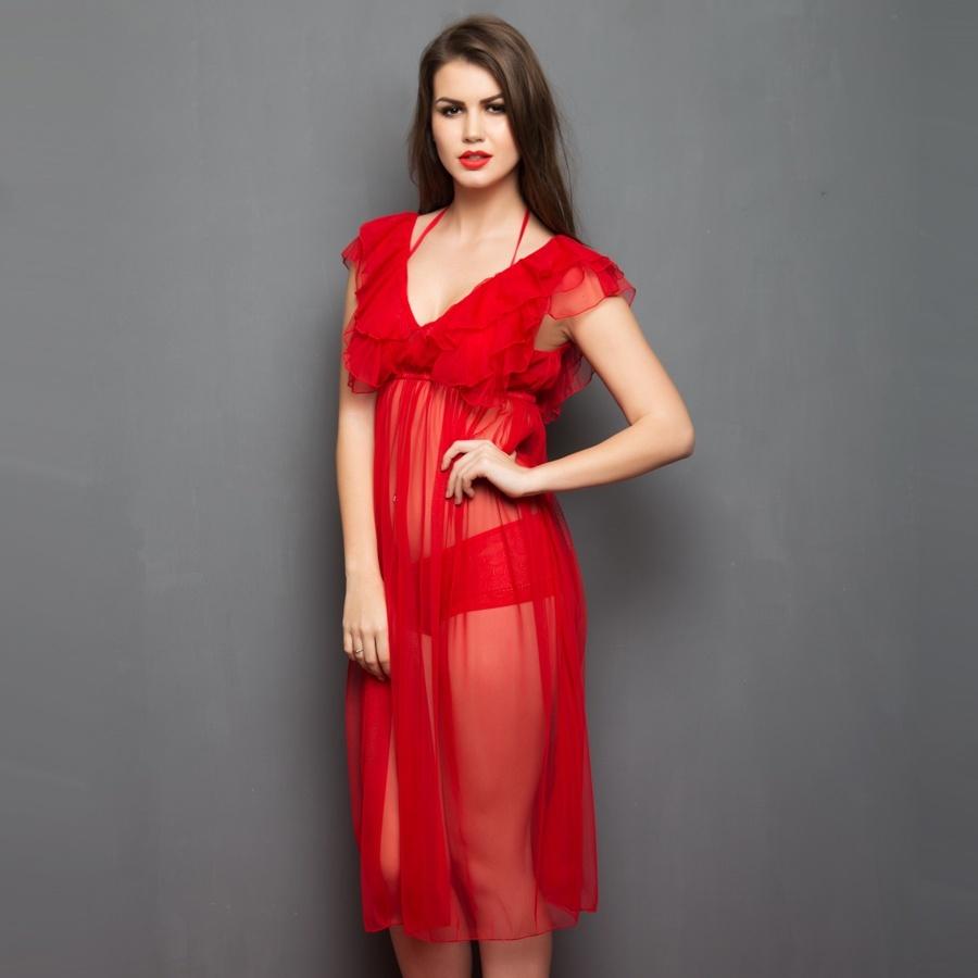 Long Sheer Nightwear in Red