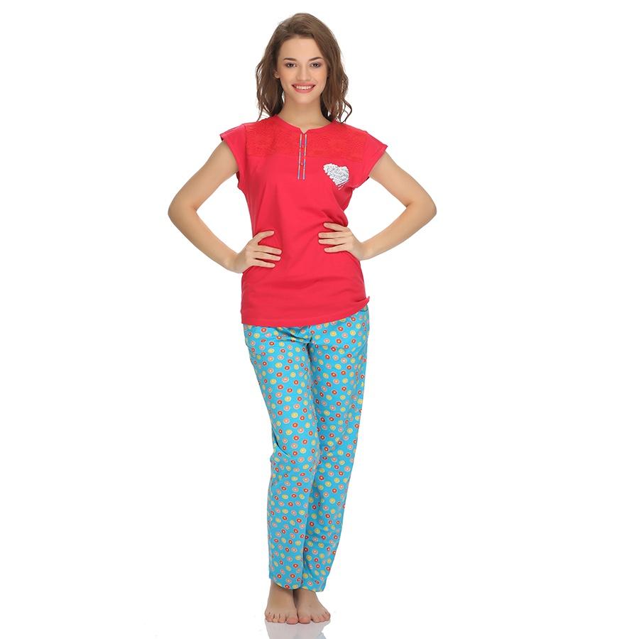 Cotton T-Shirt And Pyjama Set In Dark Pink
