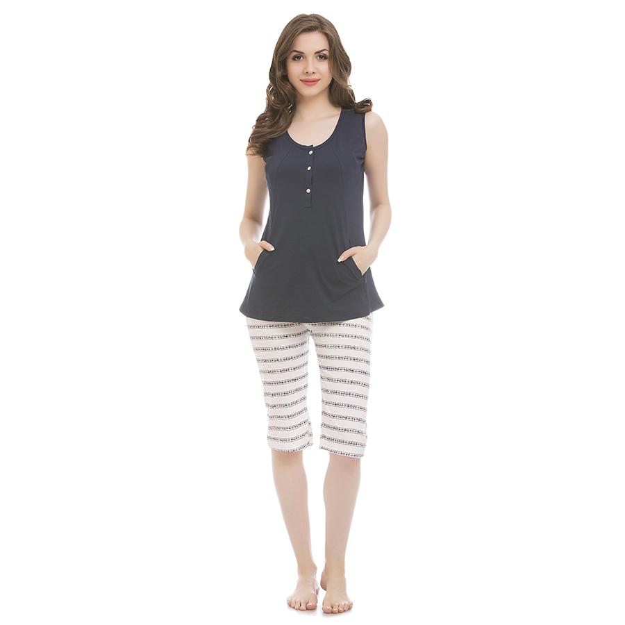 Cotton Top & Capri Night Suit - Navy
