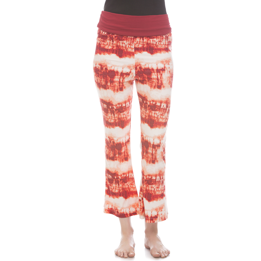 Cotton Flared Bottom Yoga Pants With Maroon Printed Waist Band