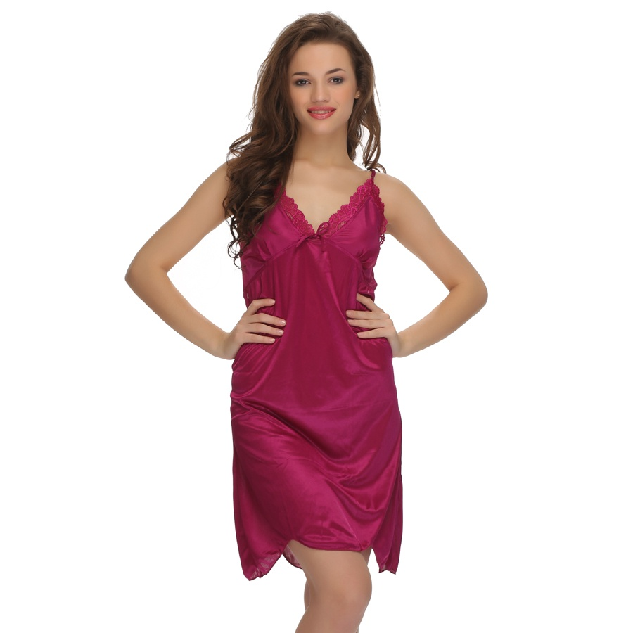 Maroon Sexy Short Nightdress