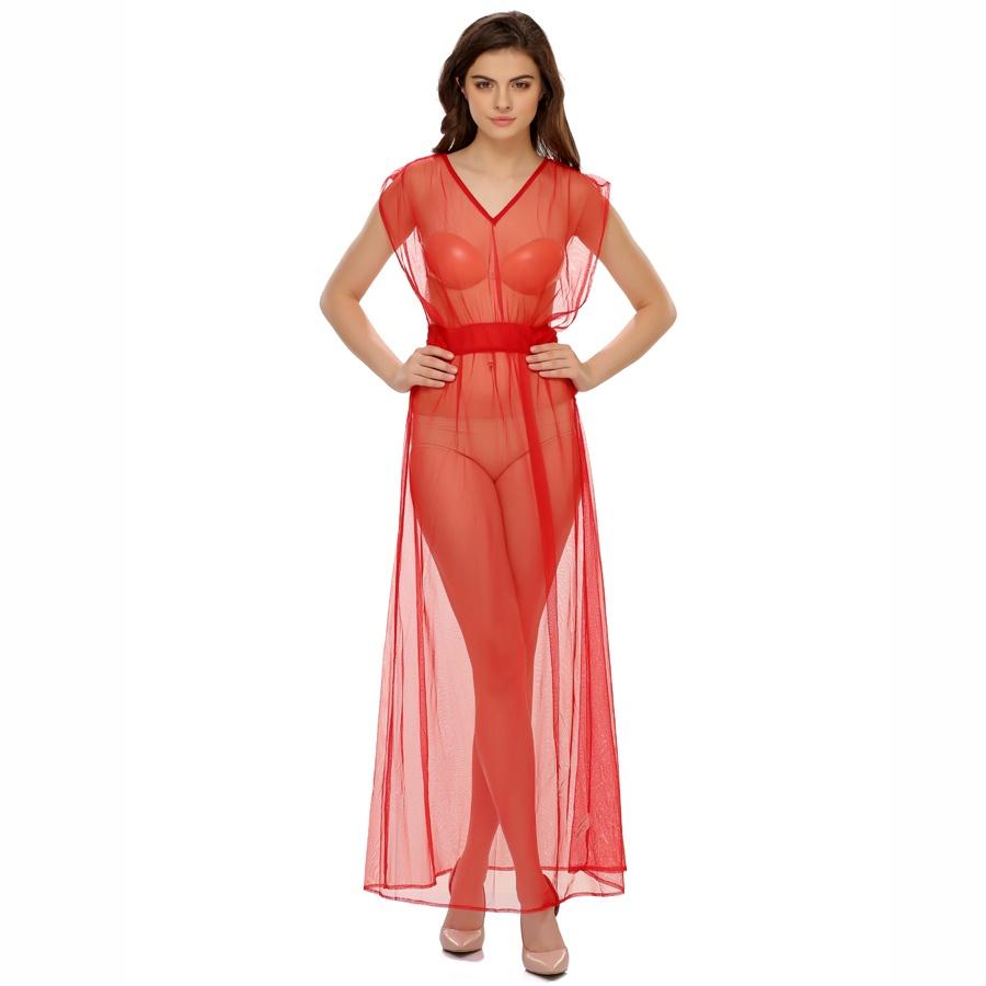 Mesh Long Nightie In Hot Red