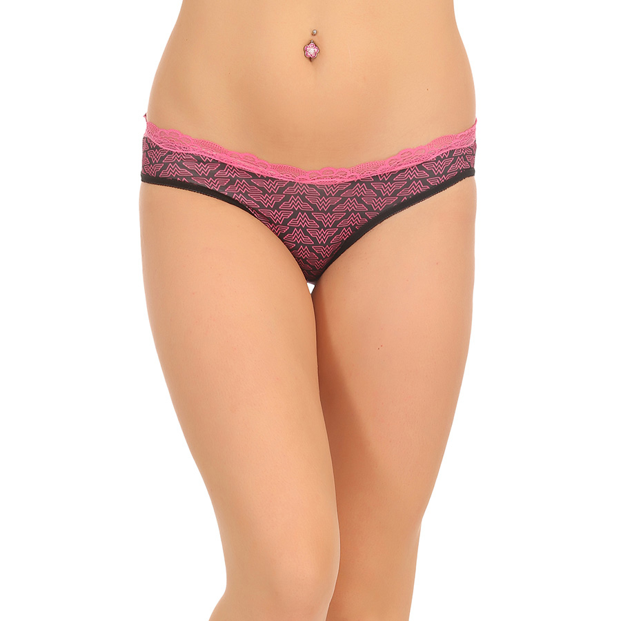 Printed Mid Waist Bikini With Contrast Lace - Pink