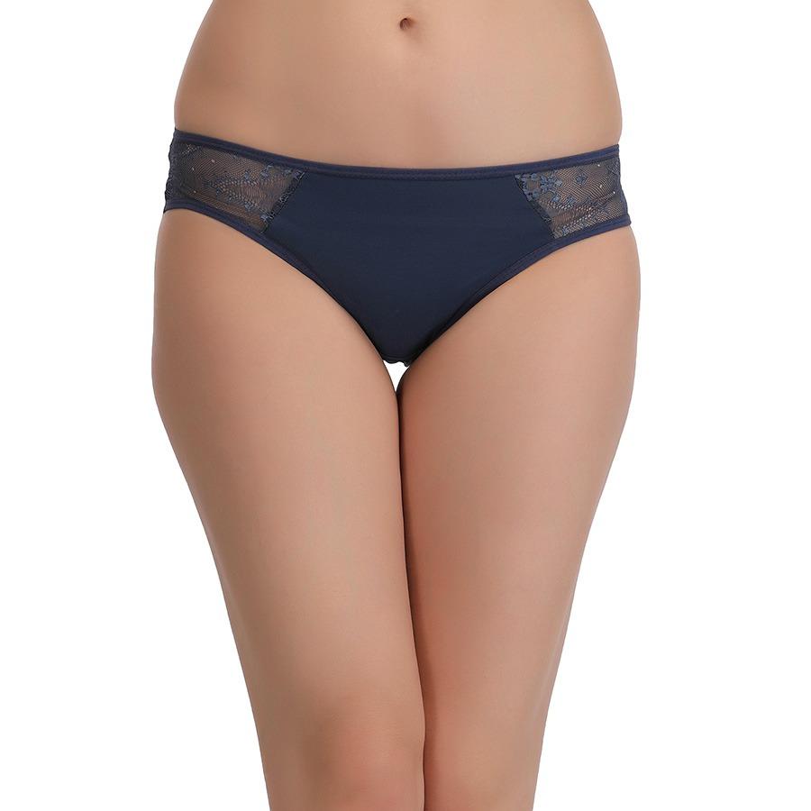 Mid Waisted Lacy Bikini - Blue