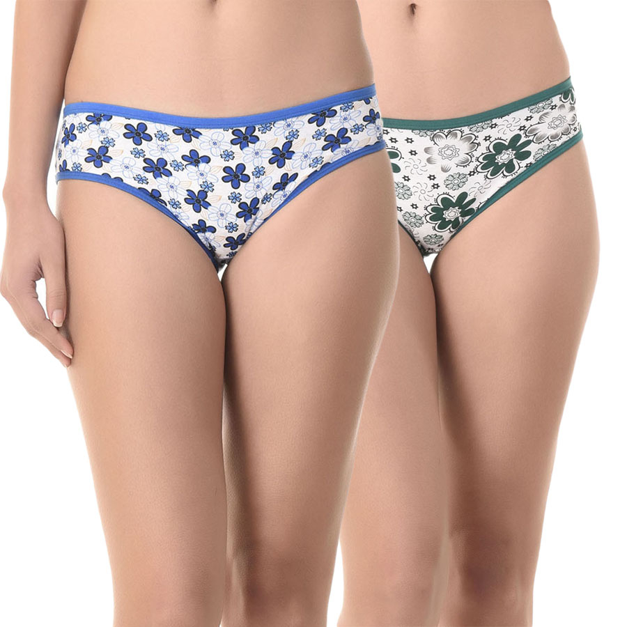 Set of 2 Multi-coloured Cotton High Waist Bikinis