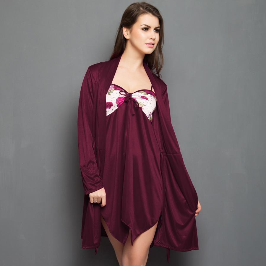 Set of Printed Short Robe and Nighty in Maroon