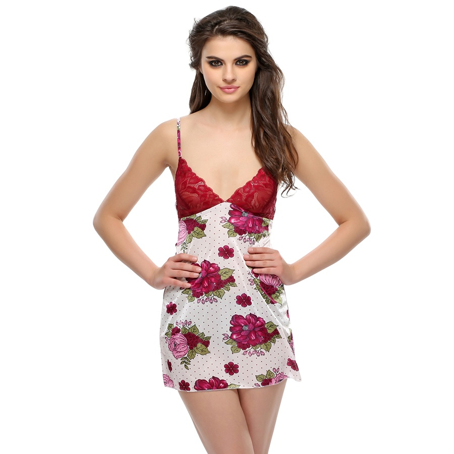 Lacy Floral Night Slip In Maroon