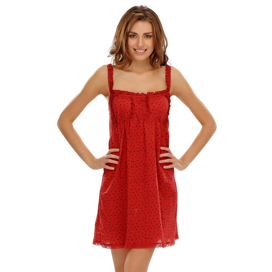 Cotton Dress With Cute Ruffles In Red