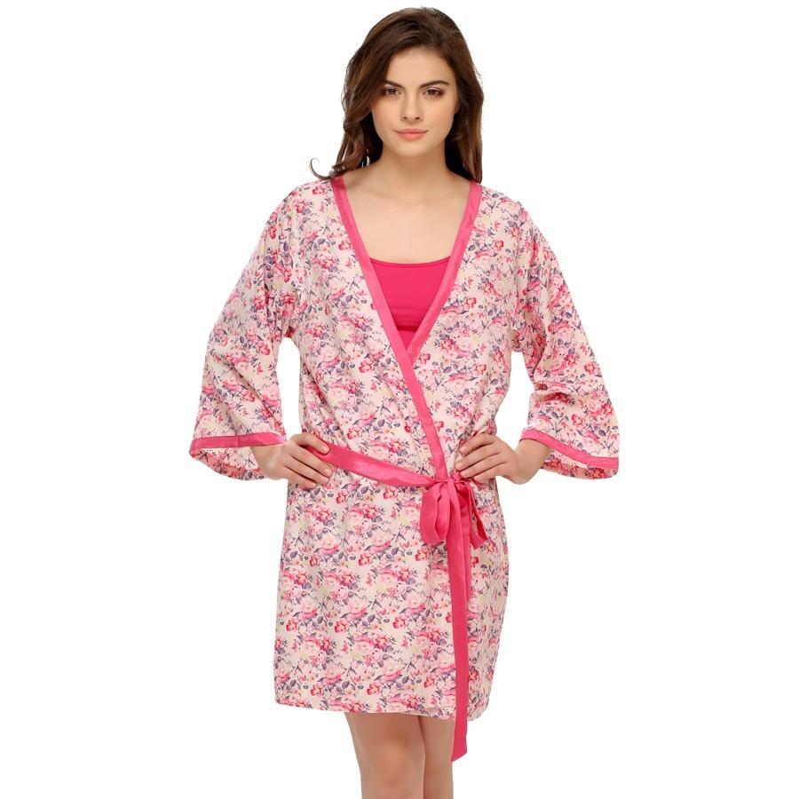 Floral Printed Robe In Pink