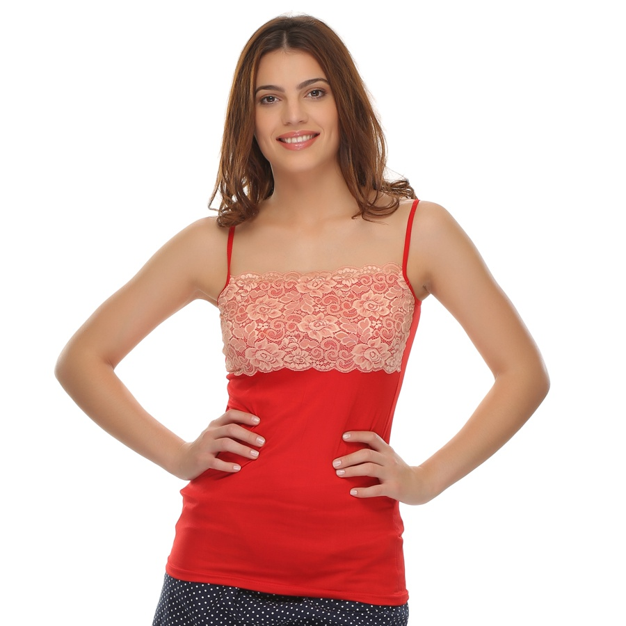 Cotton Camisole with Contrast Lace