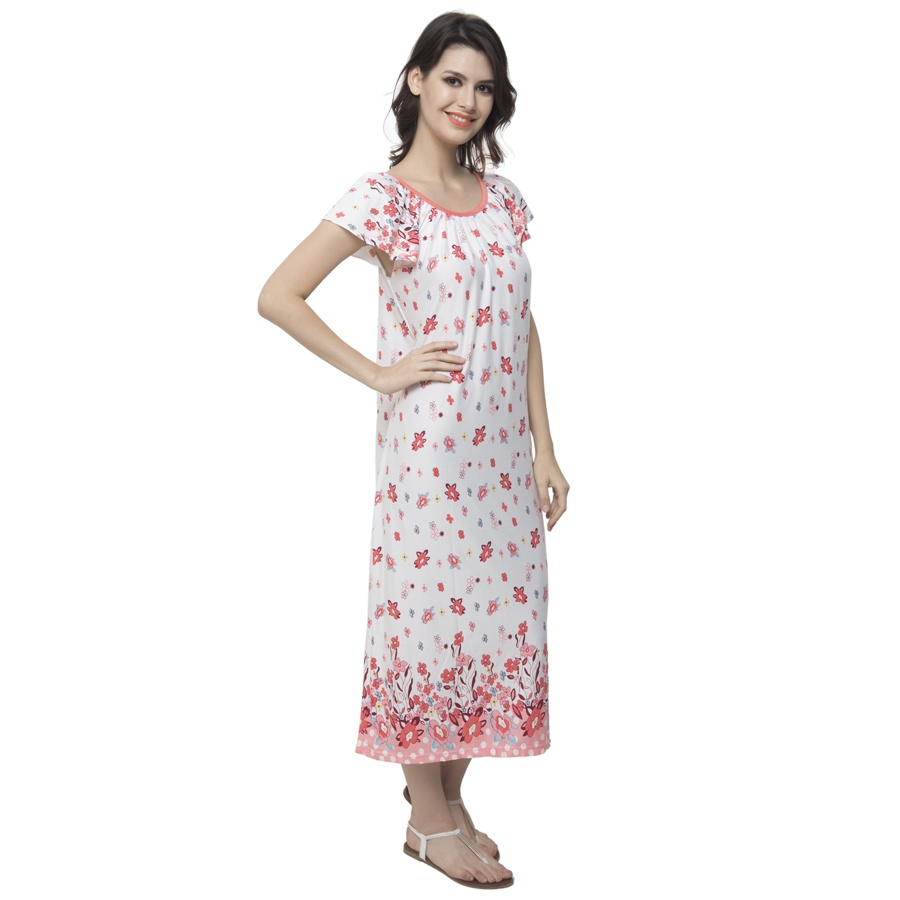 Long Nightdress With Cute Floral Prints