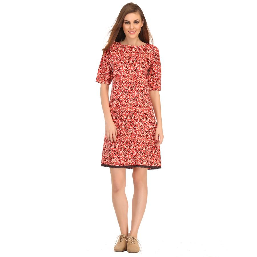 Random Polka Print Short Dress In Red