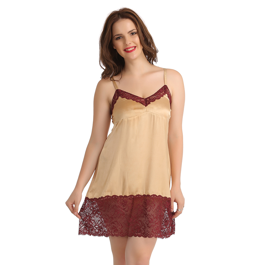 Satin Babydoll With Contrast Lace At Neckline - Skin
