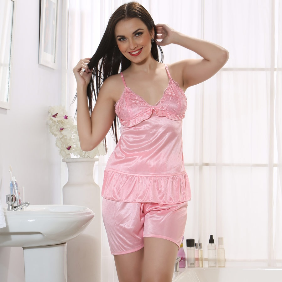 Satin Camisole and Shorts in Baby Pink