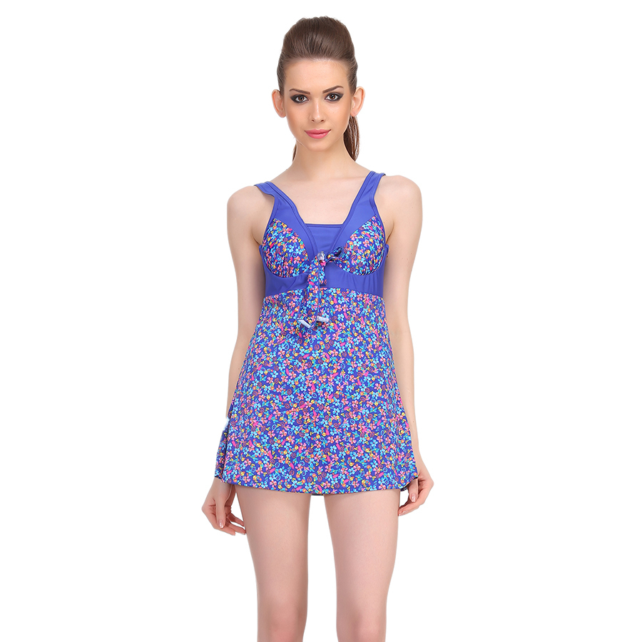 Polyamide Padded Floral Print Monokini Swimsuit in Blue