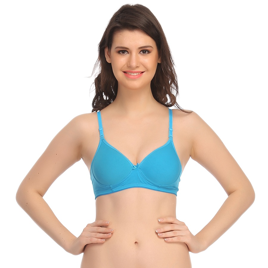 Padded T-Shirt Bra In Turquoise With Detachable Straps