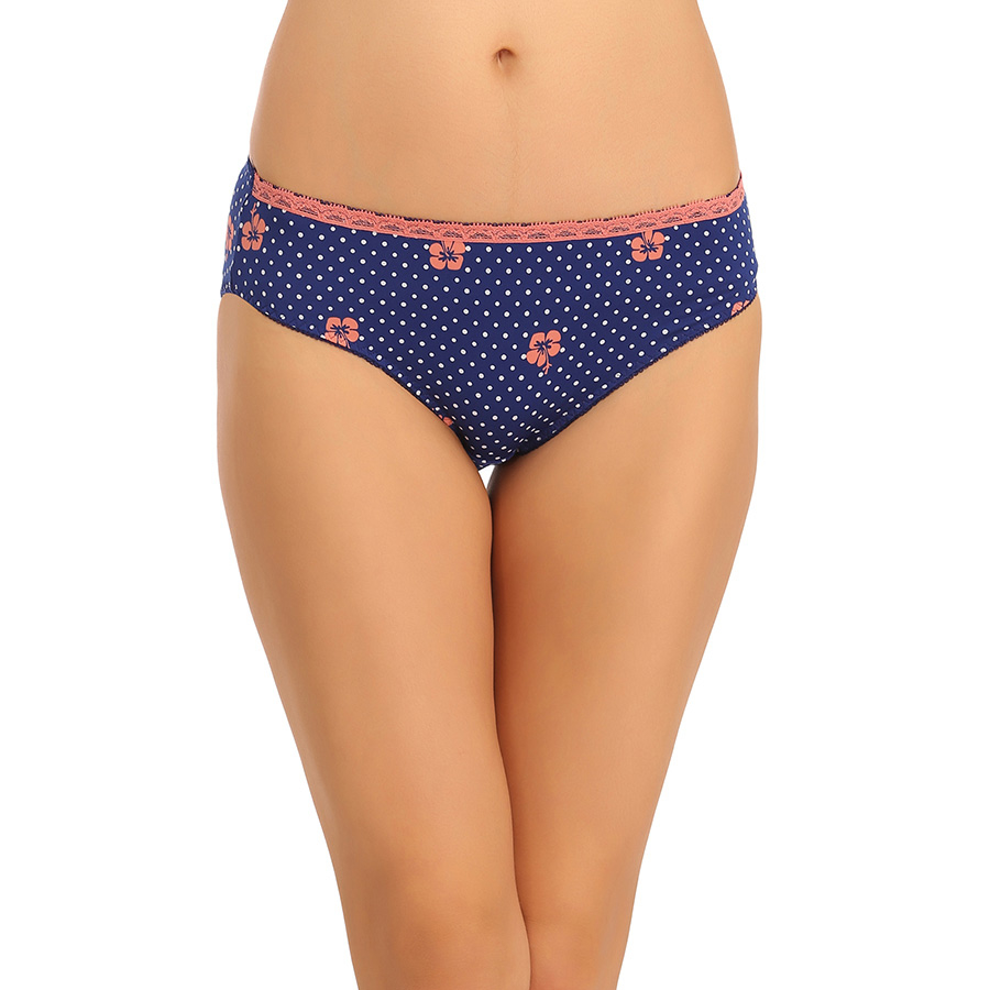 Mid Waist Hipster With Contrast Elastic Trim - Blue
