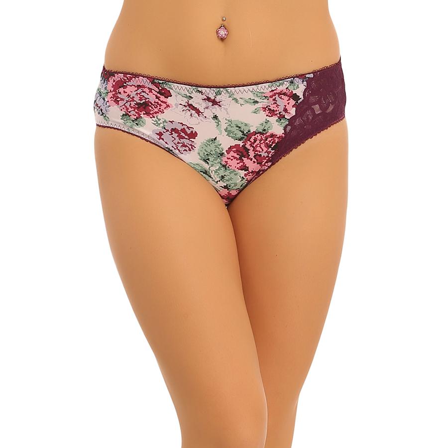Mid Waist Bikini With One Side Lace - Purple