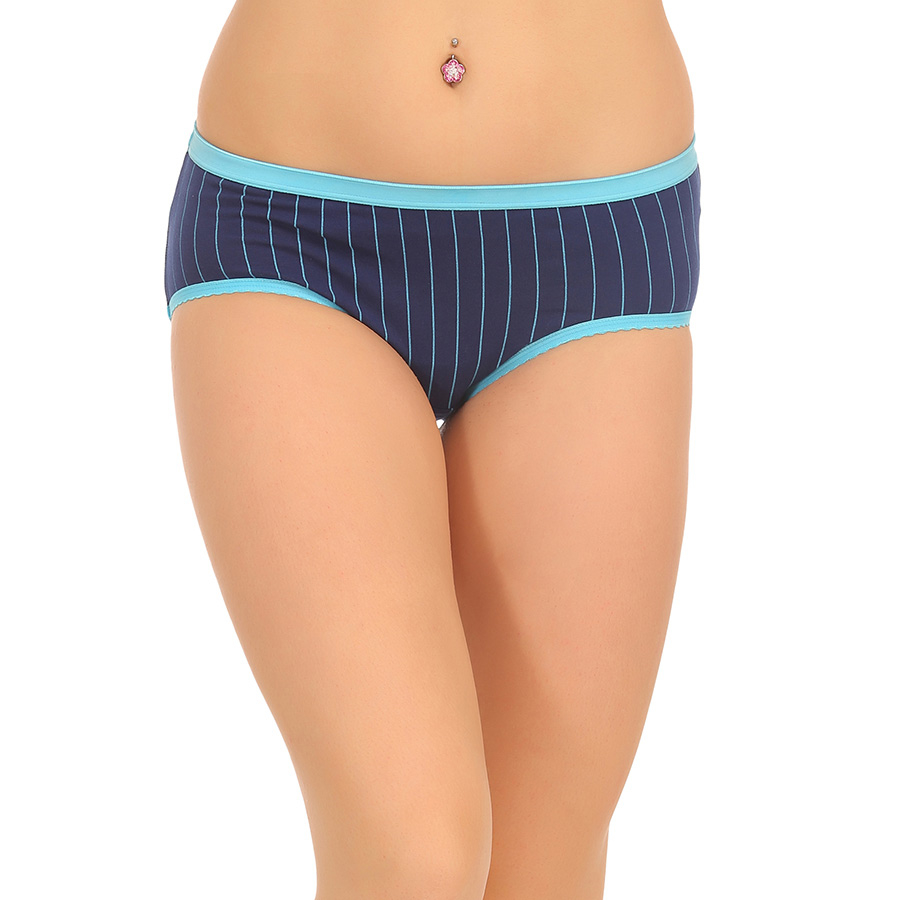 Cotton High Waist Hipster With Solid Elastic Band - Blue
